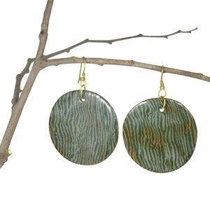 NWT! large Round Pottery Jewelry; Earrings: OLIVE